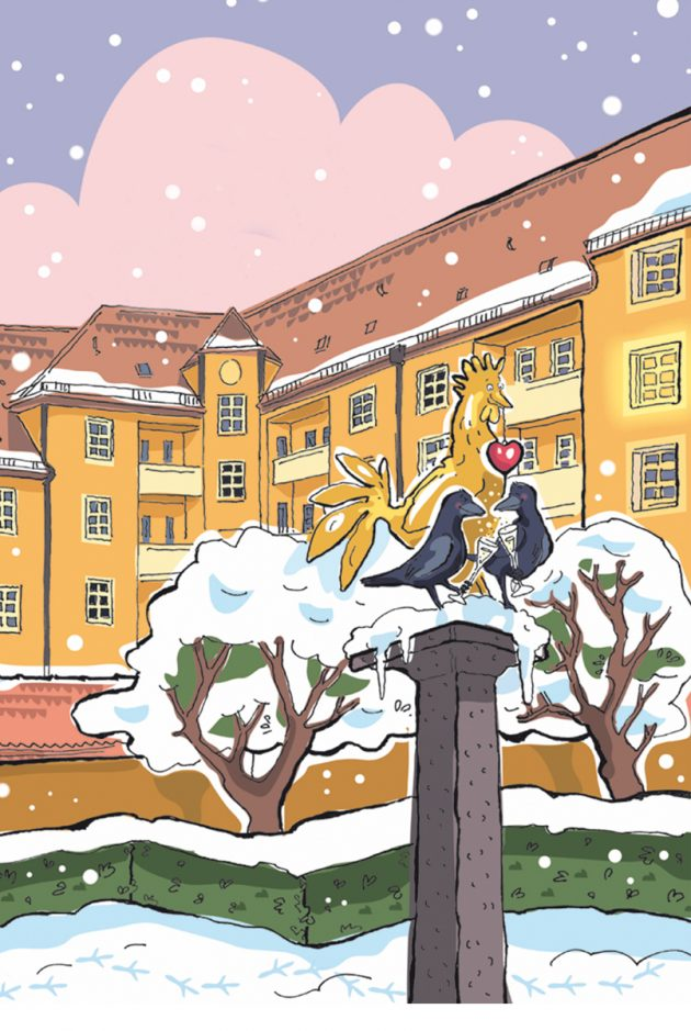 Hahn und Krähen